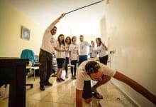 Arab volunteers helping the Holocaust survivors to paint their houses